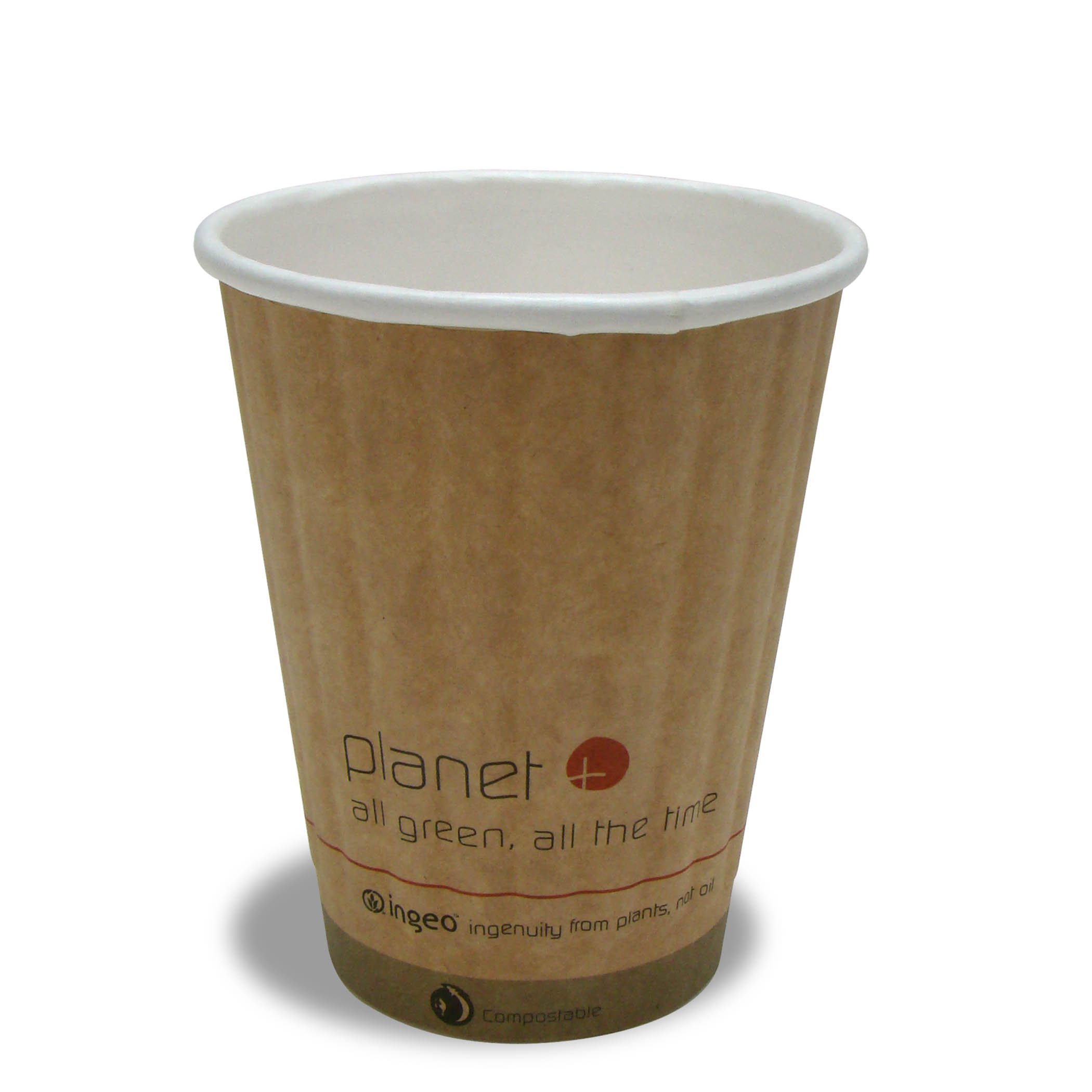 Planet + 100% Compostable PLA Laminated Double Wall Insulated Hot Cup, 8-Ounce, 1000-Count Case