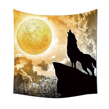 Animal Diseño Negro Silueta De Lobo Aullando Luna Llena Luz Mystic