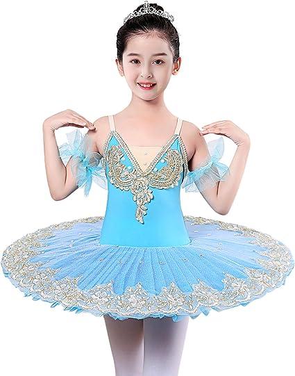 UK Girls Ballet Dress Kids Gymnastics Performance Tulle Skirts Dancewear Costume