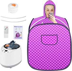 SEAAN Portable Sauna One Person Sauna Tent for Weight Loss Relaxation at Home with 2L Steamer Remote Control 60-Minute Timer 1000 Watt 122 °F
