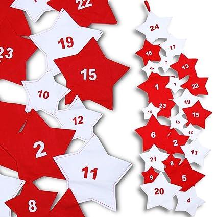 Calendario Dellavvento In Feltro.Jago Calendario Calendario Dell Avvento Con 24 Sacchetti In Feltro Con Forma Di Stelle 210 Cm
