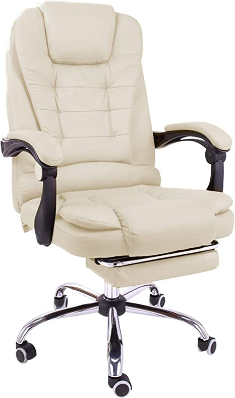 Amazon Com Halter Reclining Leather Office Chair Modern Executive Adjustable Rolling Swivel Chair Headrest With Retractable Footrest Creamy White Kitchen Dining