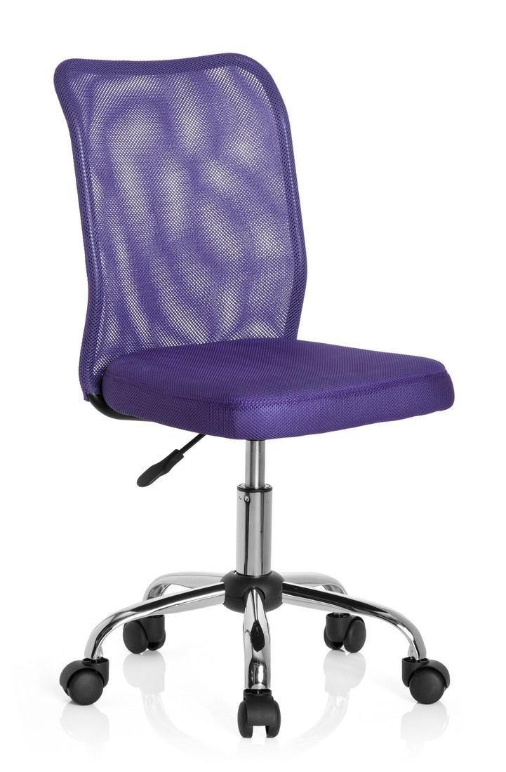 hjh OFFICE 685970 silla para niños KIDDY NET tejido de malla lila, ergonómica, cómoda, fácil de limpiar, malla transpirable, base cromada, estable, color vivo, silla escritorio, silla juvenil