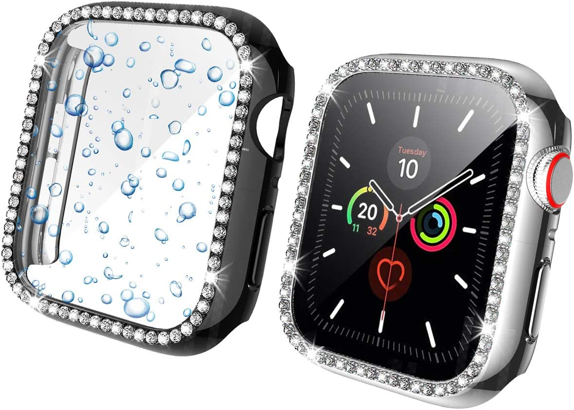 Landhoo 2 Pack case for Apple Watch Series SE/6/5/4 40mm Screen Protector Accessories, Hard Bling PC HD PMMA Tempered Glassl Cover Protective Bumper Frame for iWatch Series 4/5.(Black+Silver)