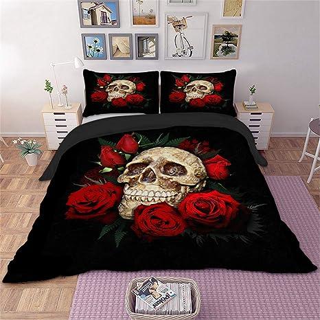 Lenzuola Matrimoniali Con Teschi.3d Skull Rose Bedding Set Copripiumino 3d Stampa Floreale E