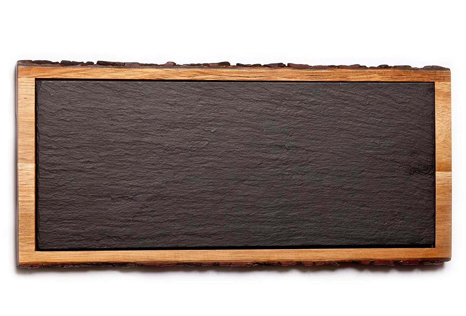 THE CHEF COLLECTION – Plato Borde, Colección Rustic, plato de madera de acacia con pizarra, 37,1x17,0x1,7 cm
