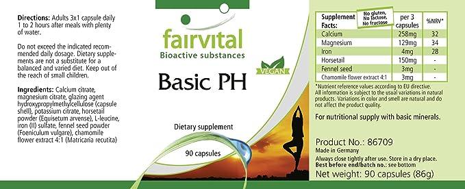 PH Basic - 1 mes - VEGAN - ALTA DOSIS - 90 cápsulas - bases de cápsulas con calcio, magnesio y más: Amazon.es: Salud y cuidado personal