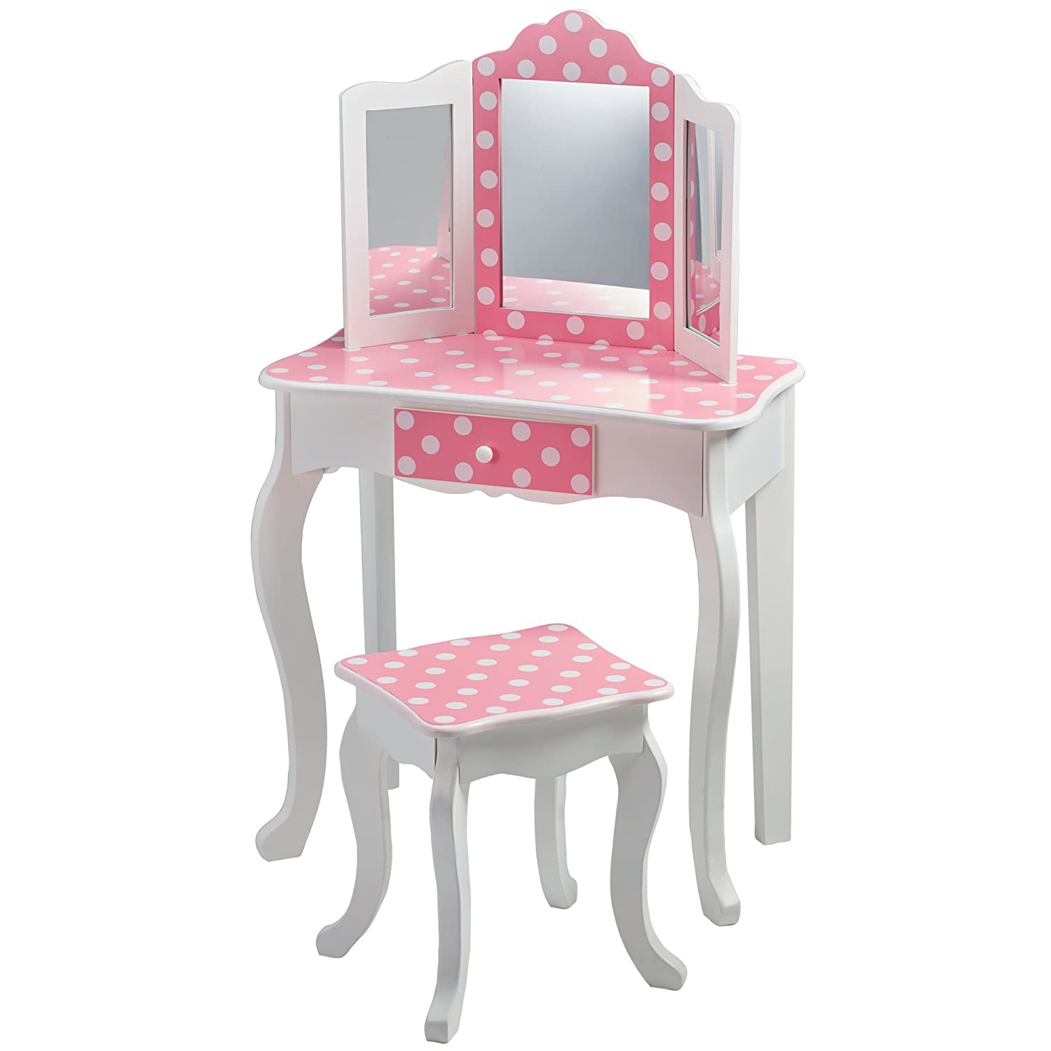 Fashion Prints TD-11670F Teamson Kids - Gravures de mode Polka Dot Vanity Table et Tabouret Bois Rose-Blanc 59 -69 x