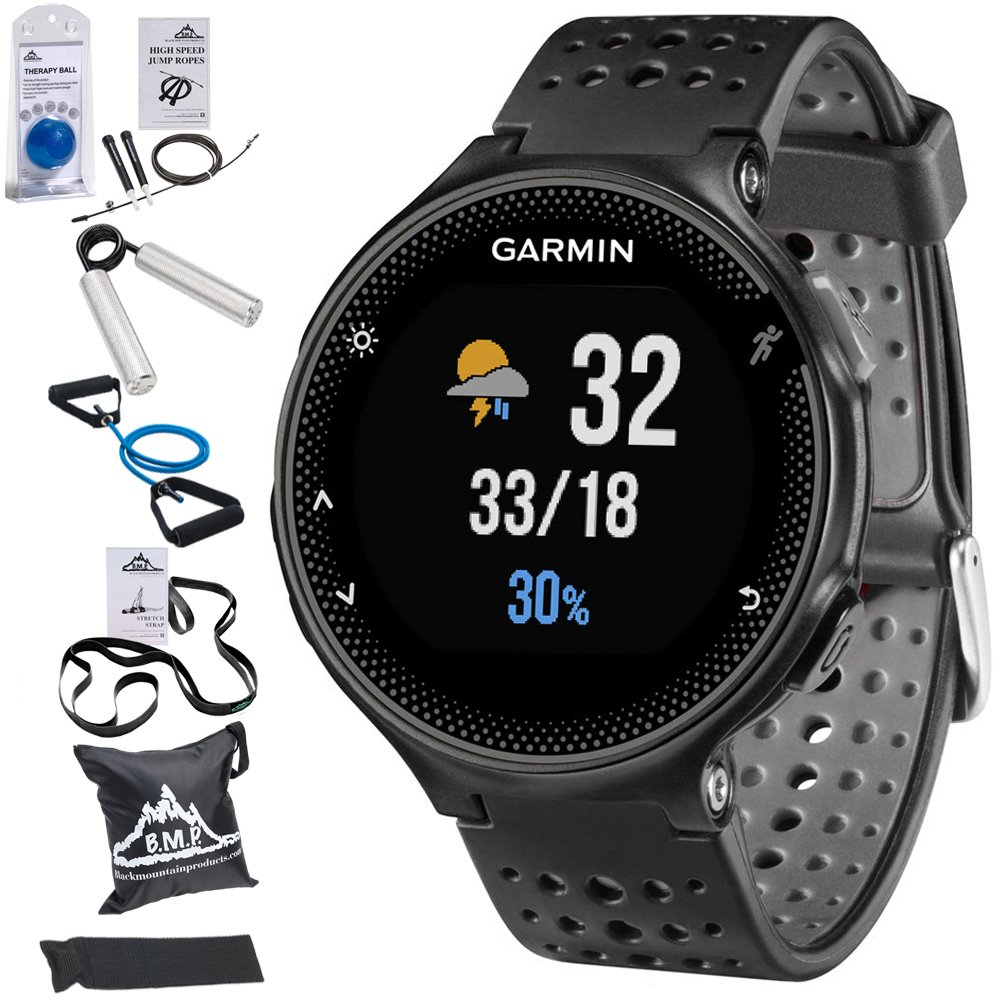 Garmin Forerunner 235 GPS Sport Watch with Wrist-Based Heart Rate Monitor and 7-Piece Fitness Kit (Black)