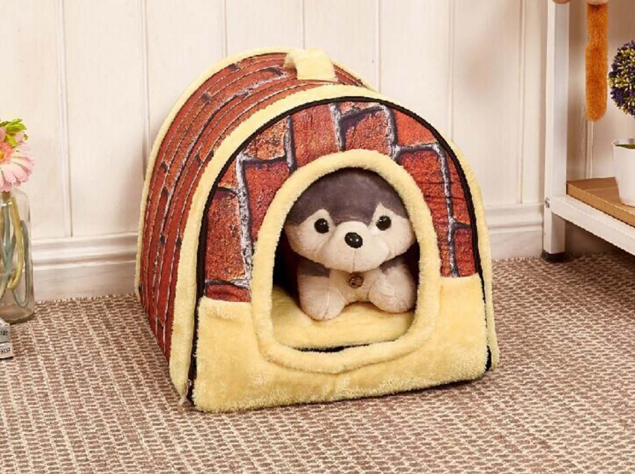 Acogedor 2-en-1 casa de mascotas y sofá Camas antideslizantes para gatos para perros, bolso casero forma lavable perrito interior portátil cama plegable ...