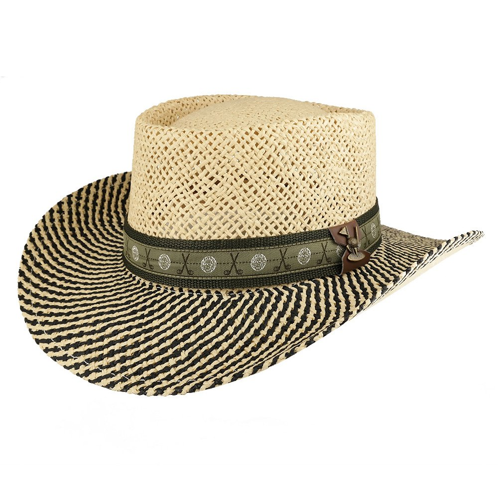 89d0653c8 Trendy Apparel Shop UV 50+ Men's Straw Wide Brim Gambler Hat with Golf  Themed Hat Band