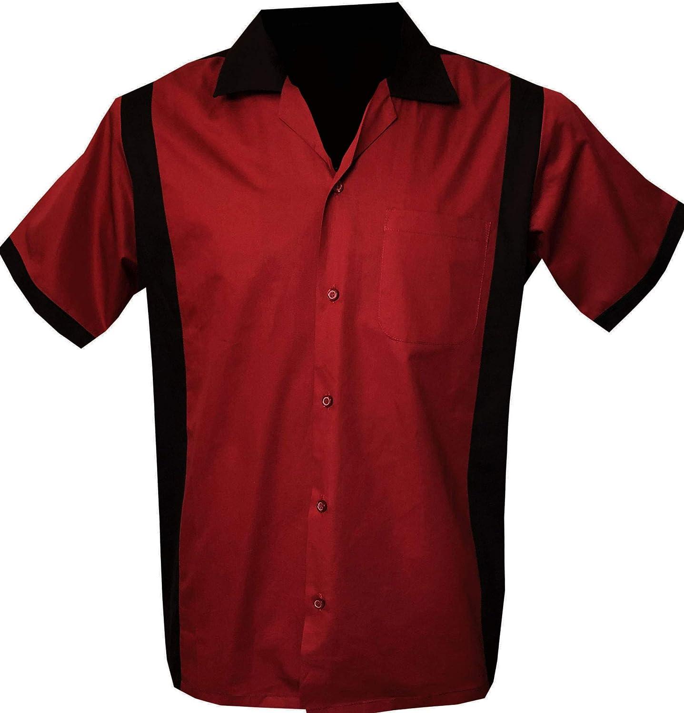 Rockabilly Fashions - Camisa con botones para hombre de los años 50 y 1960, estilo vintage, color rojo y negro negro y rojo XL: Amazon.es: Ropa y accesorios