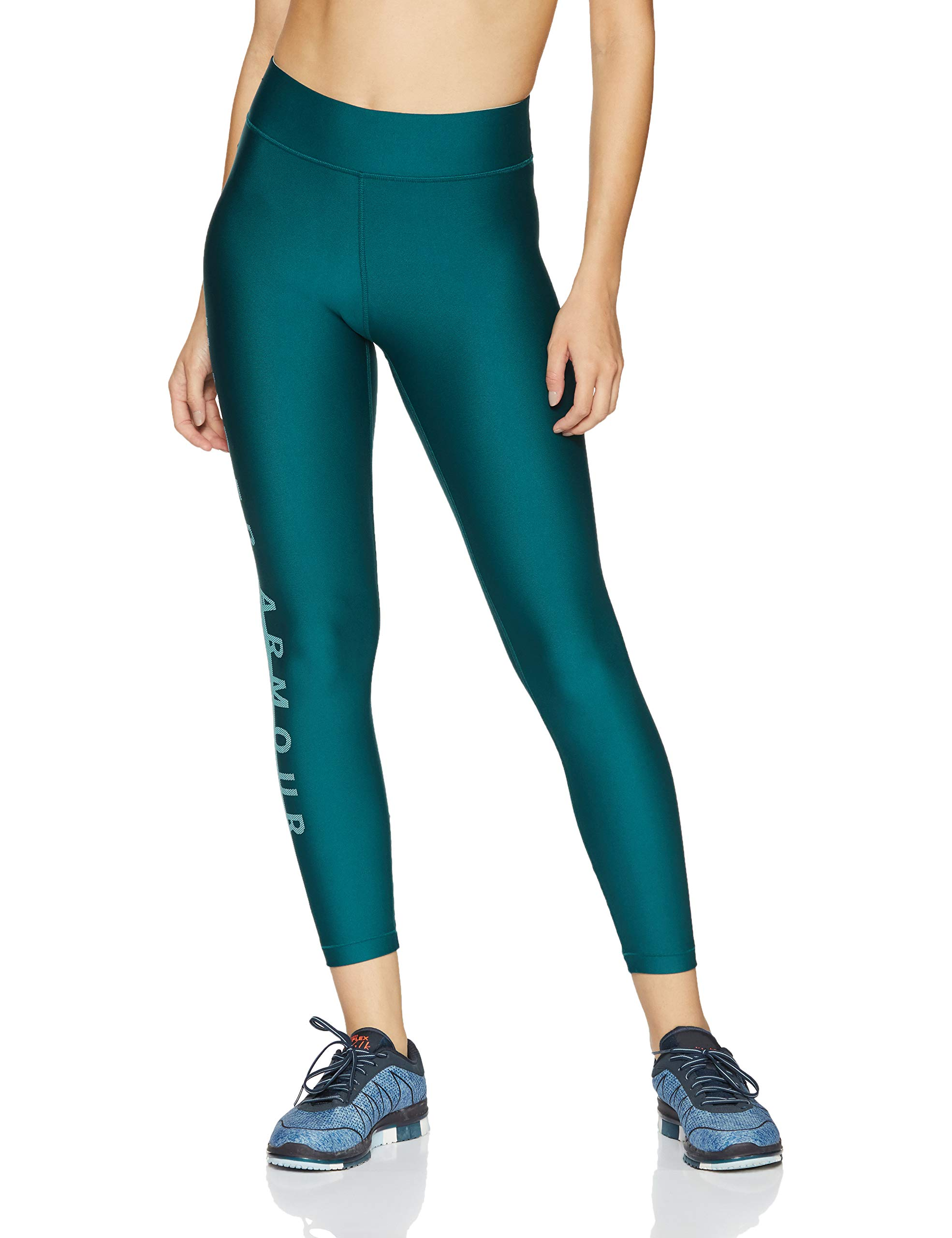Under Armour Women's HeatGear Armour Branded Ankle Crop, Tourmaline Teal (716)/Metallic Silver, Large by Under Armour (Image #1)