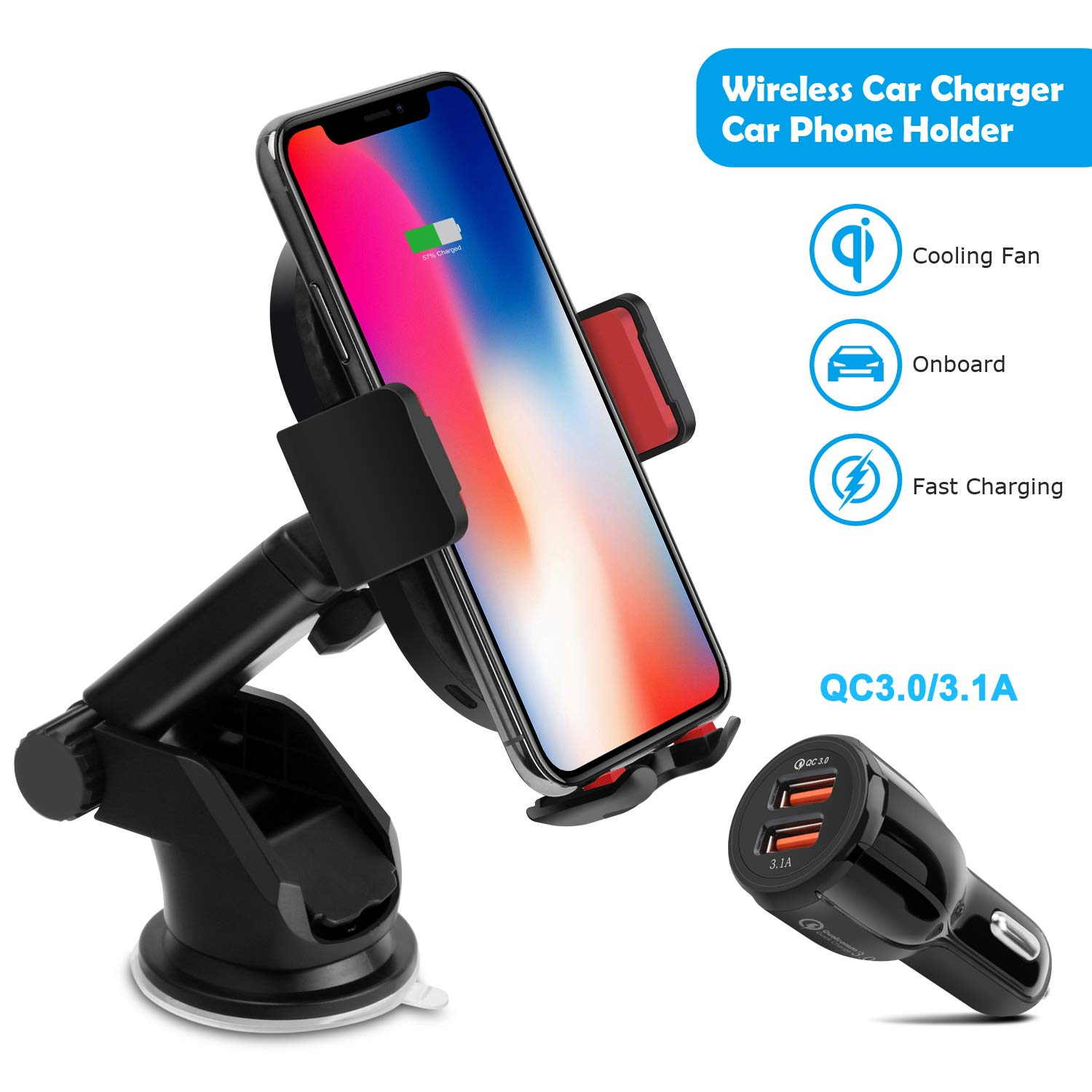 10W Wireless Car Charger, Detuosi Car Wireless Charger Car Phone Mount, Fast Charge for Samsung Galaxy S9/S8 plus/S8/S7/S6 Note 8/5, Standard Charge for iPhone X/8/8 Plus and all Qi Enabled Phones