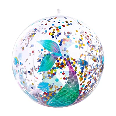 CLISPEED Pack of 2 PVC Children Sequin Beach Ball Inflatable Pool Beach Ball for Swimming Pool Party Favor: Toys & Games