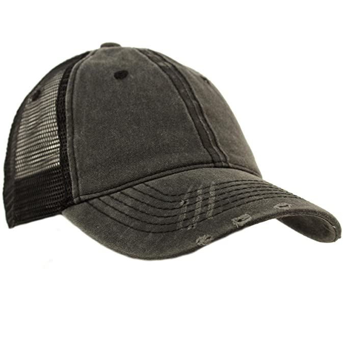2594fce0fa1 Unisex Distressed Low Profile Trucker Mesh Summer Baseball Sun Cap Hat Black
