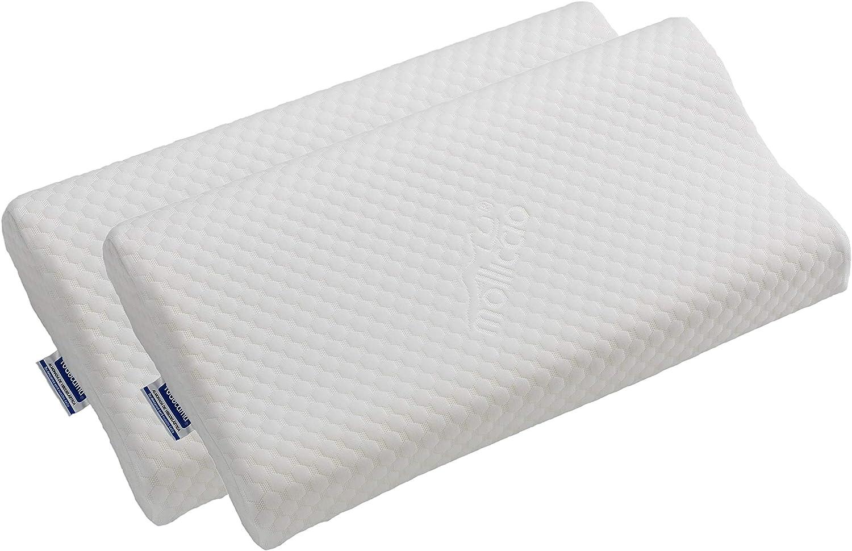 Todocama - Almohada viscoelástica Cervical con diseño ergonómico terapéutico. Doble Funda extraíble y Lavable. Fabricada íntegramente en España. Almohada Premium. (Pack de 2 Almohadas de 67x35x13cm)