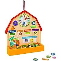 MY WAABO - Bunte Lerntafel aus Holz inkl.73 Magentsymbolen / Kinder Lernen spielerisch den Kalender mit Datum, Uhrzeit, Wetter, Jahreszeiten.Lernkalender zum aufstellen oder für die Wand