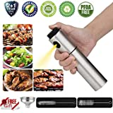 Oil Mister Vinegar Oil Sprayer Bottle for Cooking and Stainless Steel Pump Spritzer Can Container for Barbecue and Making Salad for Air Fryer, Includes Two Extra Cleaning Brush and One Funnel