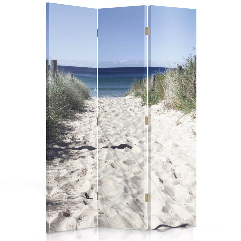 Feeby Frames Canvas Screen, Decorative Room Divider, Paravent, Single sided, 3 panels (110x150 cm) PATH, DUNES, WHITE, BLUE