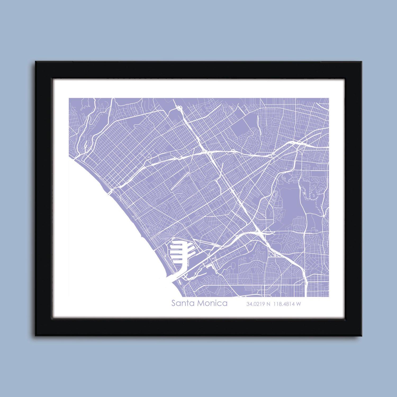 Amazon.com: Santa Monica map, Santa Monica city map art ... on westwood santa monica map, hotel santa monica map, santa monica tourist map, 7984 santa monica blvd map, santa monica street parking, ucla santa monica map,