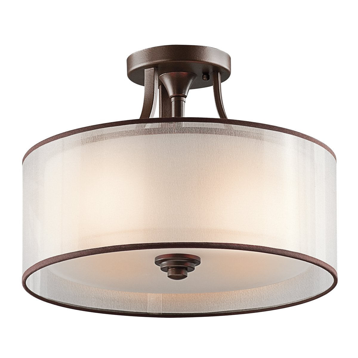 Kichler 42386MIZ Lacey Semi-Flush in Mission Bronze, 3-Light