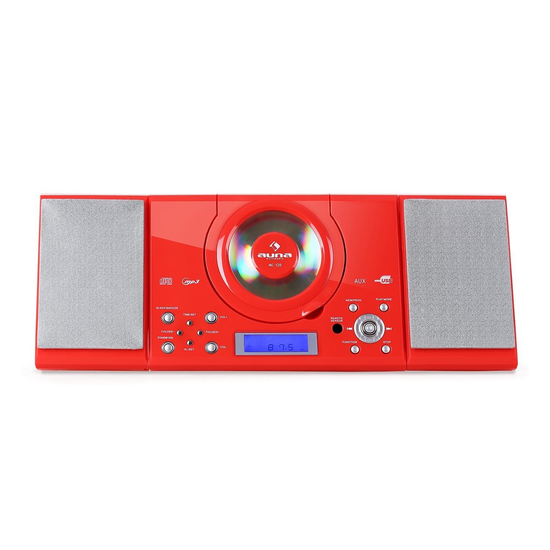 auna MC-120 White Edition - Minicadena , Equipo de música , Altavoces estéreo , Diseño Compacto , CD , MP3 , FM , USB , AUX , Alarma , Display LCD , ...