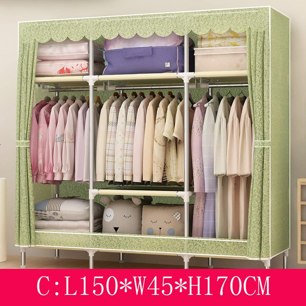 C Clothes Closet Wardrobe Wardrobe Portable Clothes Closet Cupboard Combination Bedroom Furniture Storage 150  45  170 cm (color   A)