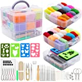 Needle Felting Kit 109Pcs Set, WEST BAY Wool Roving 36 Colors with Complete Felt Tools and Storage Box Needle Felting…