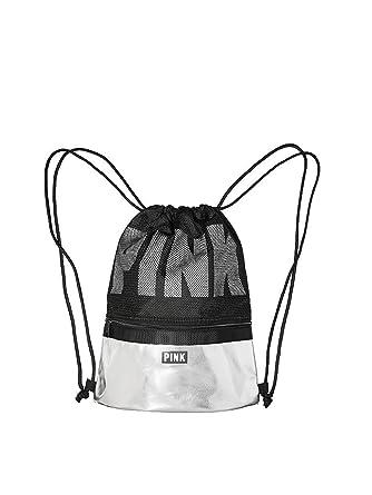 ab4d9af47e138 Amazon.com | Victoria's Secret PINK Black Drawstring Backpack ...