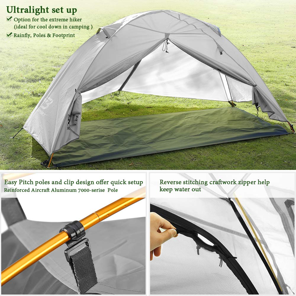 Bessport Camping Tent for Lightweight Backpacking Tents Waterproof Two Doors Easy Setup 4 Season Outdoor Dome Tent for Beach Hiking Festival