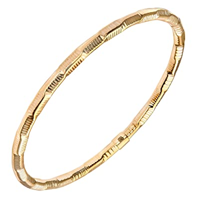 Citerna 9 ct Yellow Gold, Diamond Cut, Textured Twist Bangle of 6.7 cm Diameter