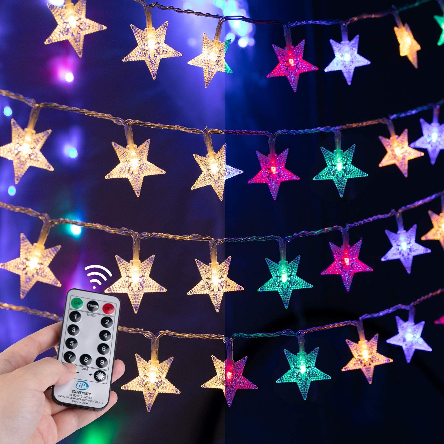 Star String Lights for Bedroom - 100 LED 33Ft Twinkle Fairy Lights with Remote & Plug & 8 Modes Outdoor/Indoor Holiday Wedding Christmas Color Changing Decor | Warm White + Multicolor