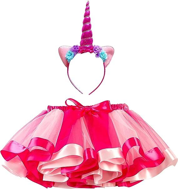 DJSJ- Unicornio Falda Princesa Niña Fiesta de Tul Tutu con Encaje ...