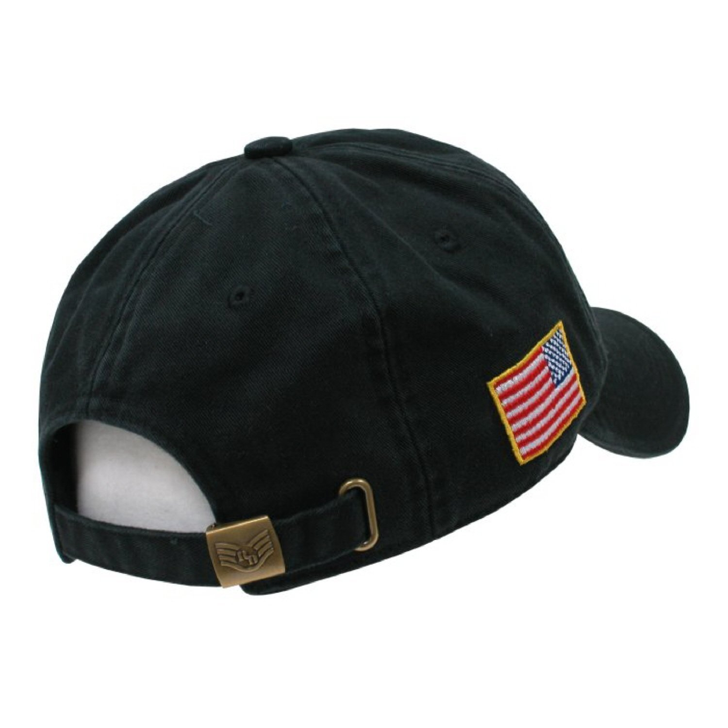 b35bd91506a Amazon.com  Black Police Officer Polo Style Adjustable Baseball Cap Hat US  Flag  Clothing