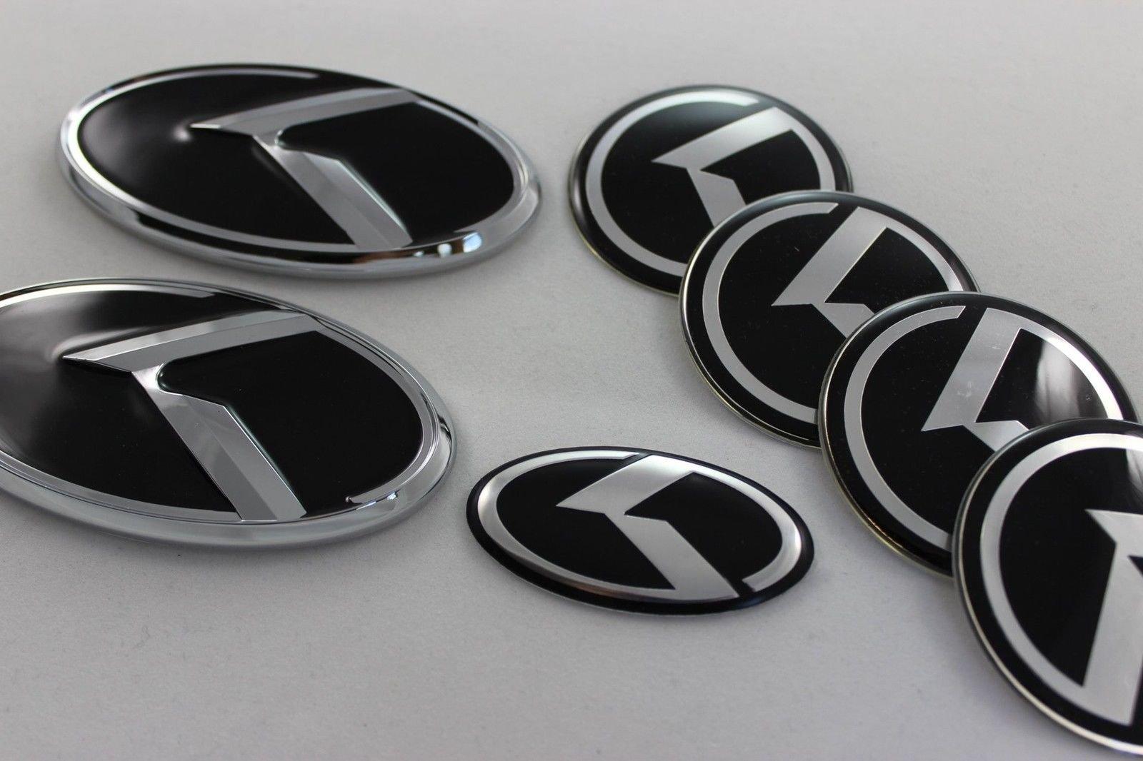 Exotic Store KA-S7B 7 Pieces 2011-2015 Fit for KIA OPTIMA K5 3D Carbon Fiber Chrome Black WING Logo Front+ Trunk+ Steering wheel+ Rim center Caps Stickers TURBO Kit Emblem Badges (Black)