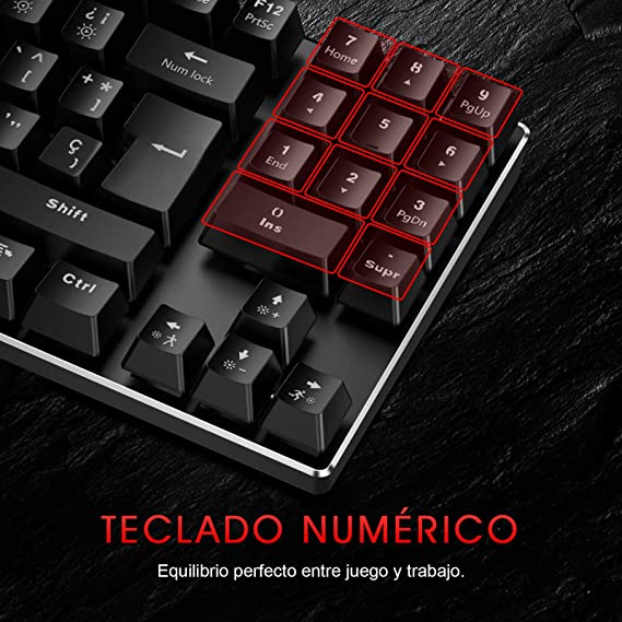 havit Teclado mecánicos Gaming español con Cable, Teclados Gaming con Interruptor Rojo de 90 Teclas, Ratón Gaming programables, Alfombrilla ...