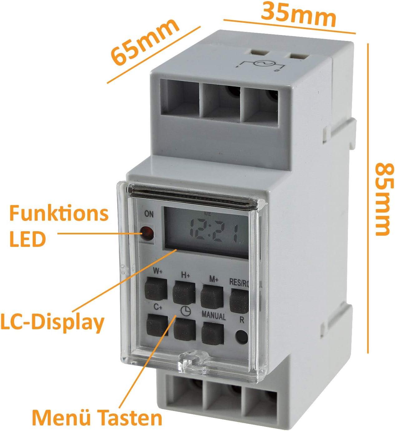 Zeitschaltuhr für Hutschiene Schaltschrank LCD 2Kanal 4000VA 24-230V mit DE Menü