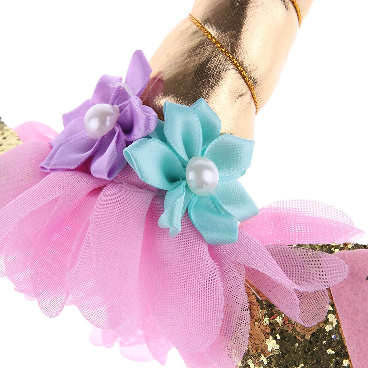 Unicorn Horn Headband,Fancy Dress Headband with Ears And Flowers for Party Decoration Christmas Halloween Cosplay Costume