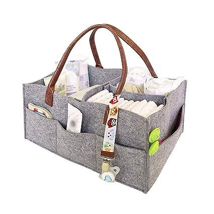 Linowi Organizador de Pañales de Fieltro para Bebé, Portátil Bolsa de Pañales Bolso de Almacenamiento Plegable Cesta para Viaje, Compartimientos ...