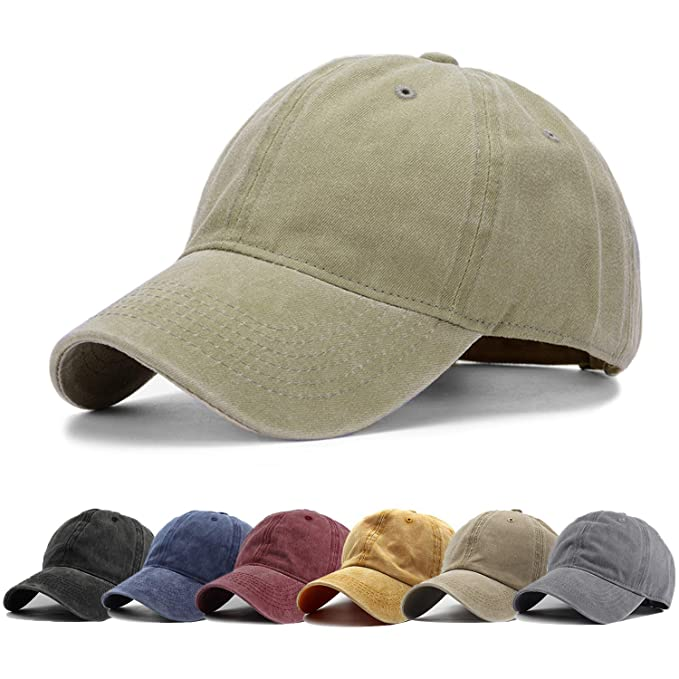 a270fca753c HH HOFNEN Unisex Twill Cotton Baseball Cap Vintage Adjustable Dad Hat  (Khaki)