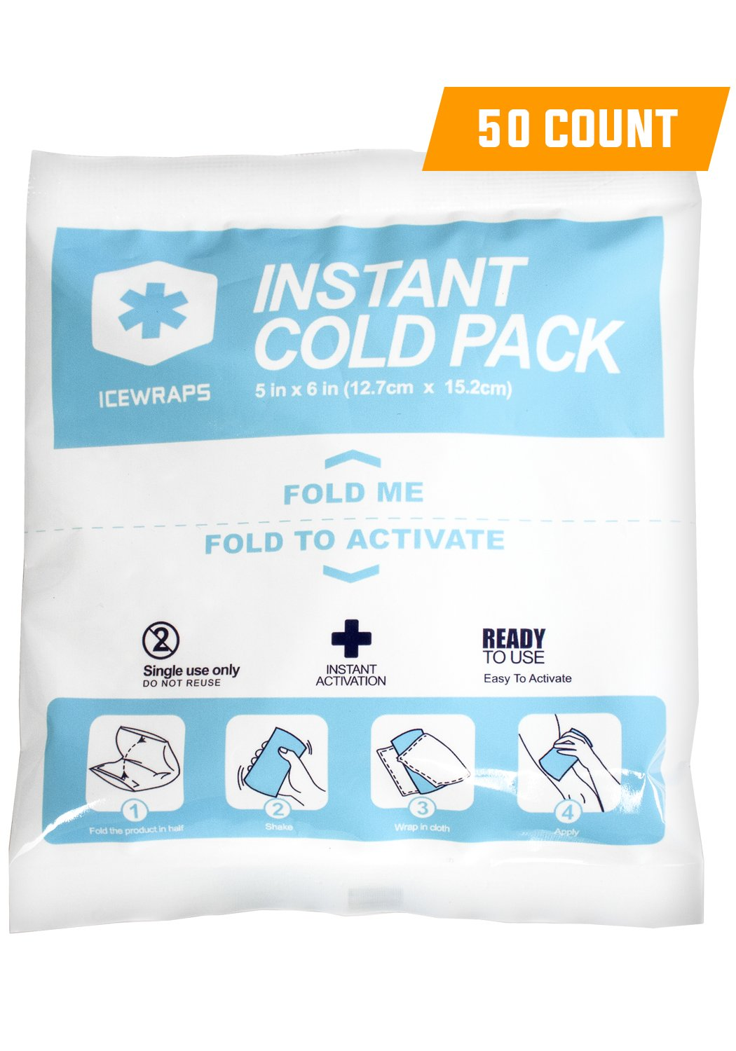 "IceWraps 5"" x 6"" Instant Cold Breakable Ice Packs - Emergency Disposable First Aid Ice Packs - Bulk Case of 50"