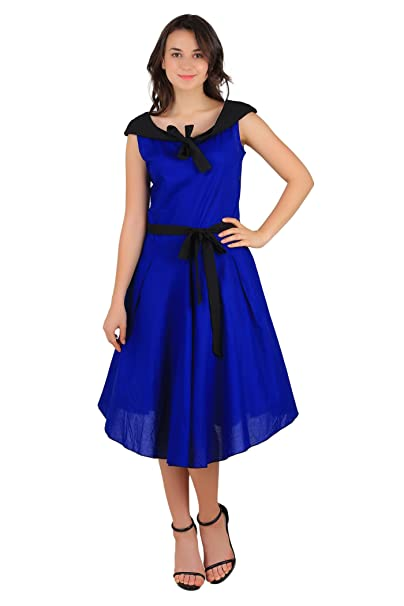 cf6908fe3ccd0 Fashion205 Women s Cotton Blue Round Neck Plain on Shoulder Fitted Dress  with Black Tie (Me83