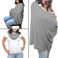 Breastfeeding Cover Infinity Scarf - Nursing Cover Converts to Multi-Use Baby Car Seat Canopy, Stroller Cover, High Chair and Shopping Cart Liner - Grey