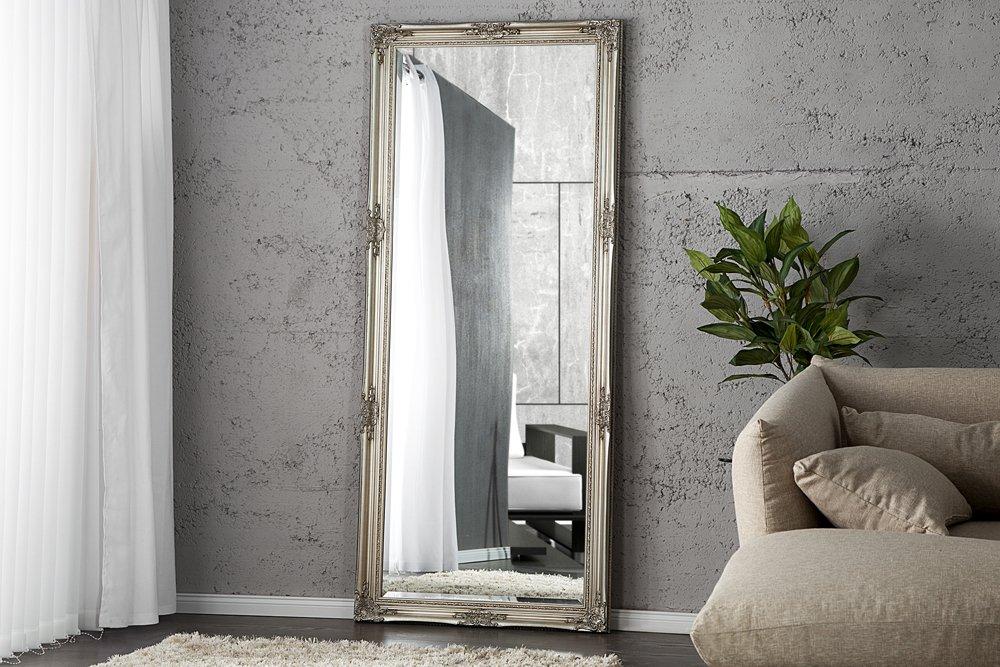 DuNord Design Wandspiegel Standspiegel BAROCCO XL silber 185cm Barock Design Spiegel