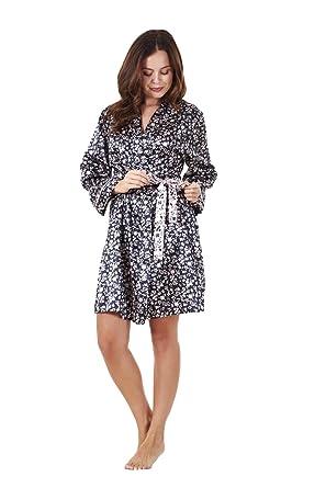 Ladies Quality Satin Wrap Kimono Black Floral Print Womens Dressing ...