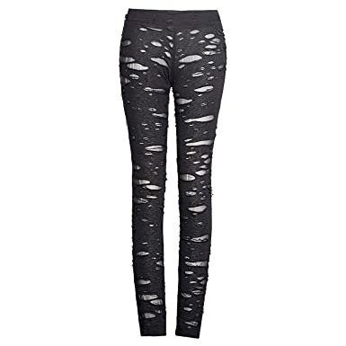 b6eb800af4 Punk Rave Womens Sexy Ripped Mesh Leggings Gothic Punk Tattered Slimming  Pants Trousers