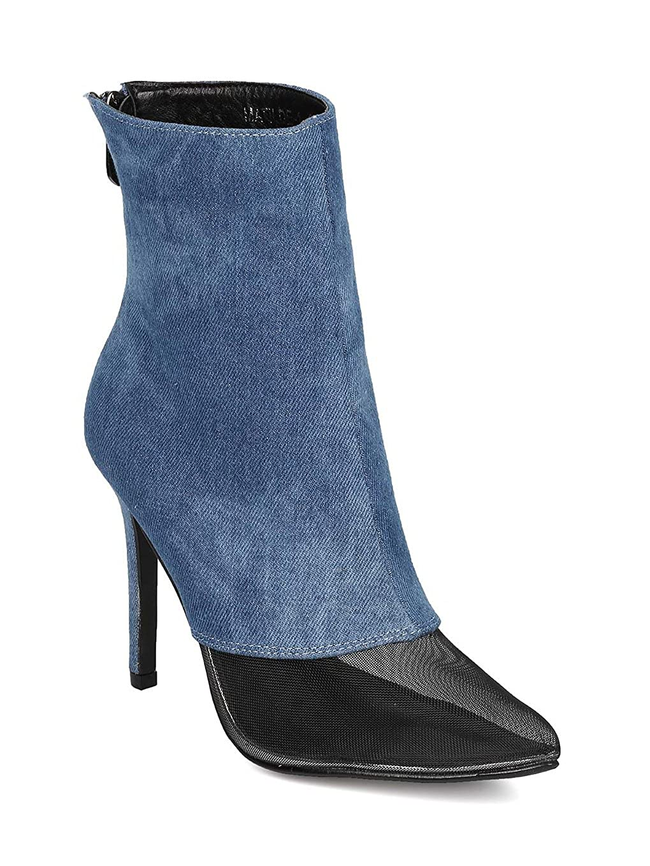 294879aaf678 CAPE ROBBIN Women Mesh Toe Ankle Boot - Stiletto Bootie - Mixed Fabric Heel  Bootie - HK67 by  Amazon.ca  Shoes   Handbags