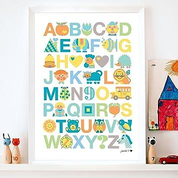 ByGraziela Kinderzimmer Poster: ABC Pastell 50x70cm