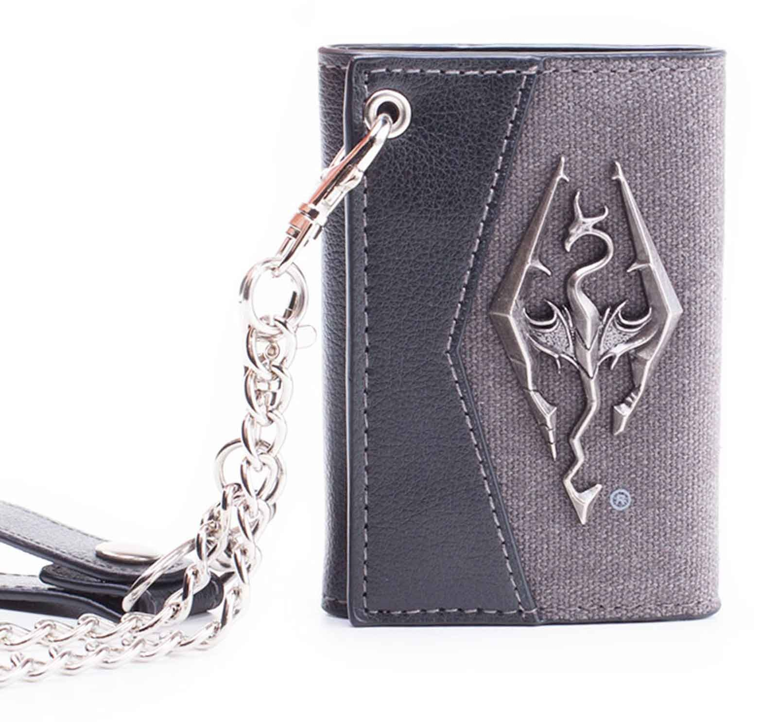 Skyrim Chain Wallet With Metal Dragon Badge Official Grey Bifold